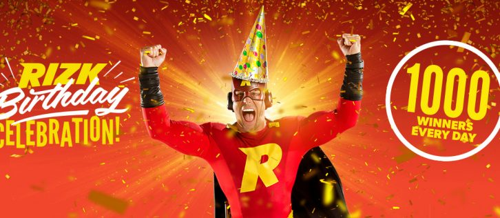 1000 prizes per day at Rizk Casino birthday party